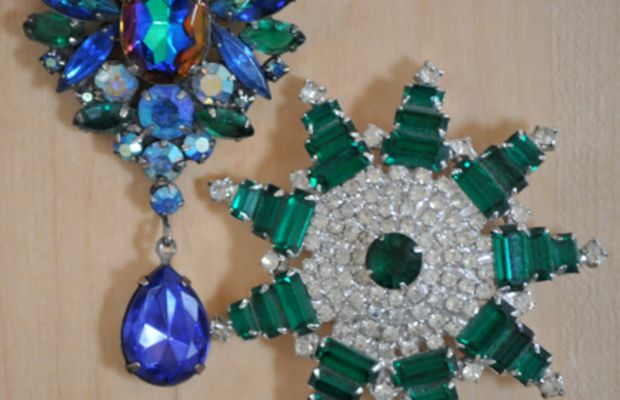 {Part of her costume jewelry collection. I love the bright blues.}