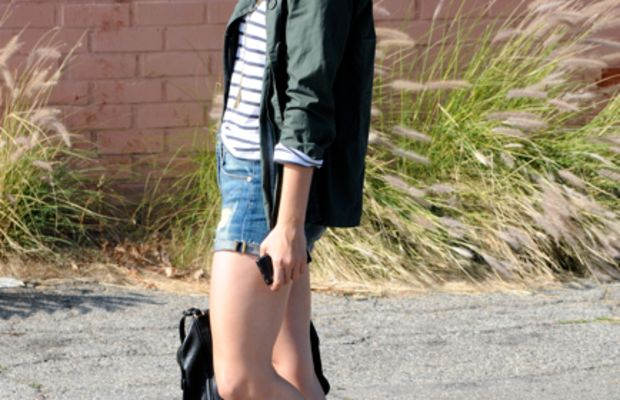 Vince Shorts,H&M Shirt, Ben Sherman Jacket, Thrift Store Glasses, J.Crew and Forever 21 Necklaces,Jeffrey Campbell Wedges, Gryson Bag