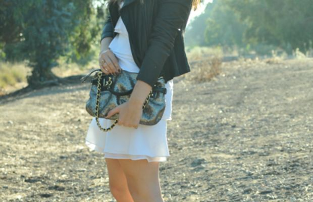 Vince Leather Jacket, BCBG Dress, Vintage Jewelry, Coach Clutch, Alaia Platforms