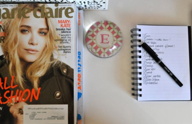 {I now have room for current magazines, a paper weight and my notepad}