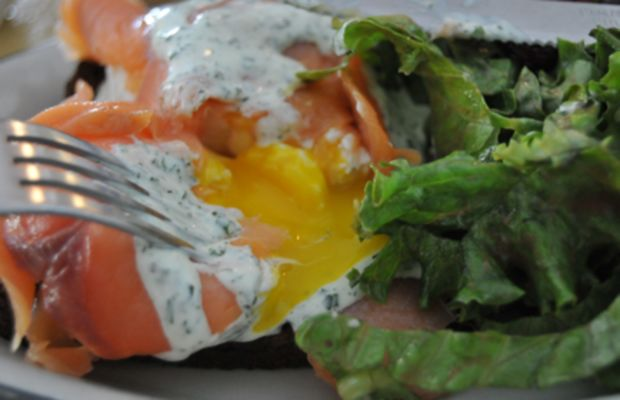 {Salmon-wrapped Poached Eggs}