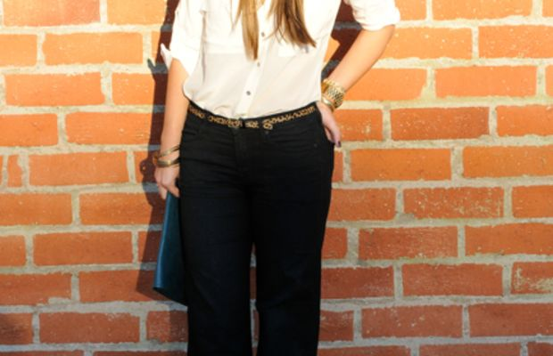 Express Button-down, Topshop Headband, Free People Sunglasses, 7 For All Mankind Trousers, J.Crew Leopard Belt, Vintage Bracelets and Ring, Michael Kors Watch, Jeffrey Campbell Wedges, Coach Clutch