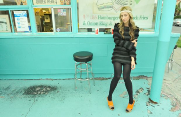 Forever 21 Pearl Headband, GiftedElizabeth and James Fringe Tunic, Vintage Jewelry, Coach Bag, Hue Tights, Marni Heels
