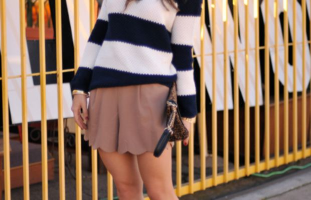UO Sweater, Thrifted Necklace and Bracelets, Queen's Wardrobe Shorts, Miu Miu Pumps, Reiss Clutch