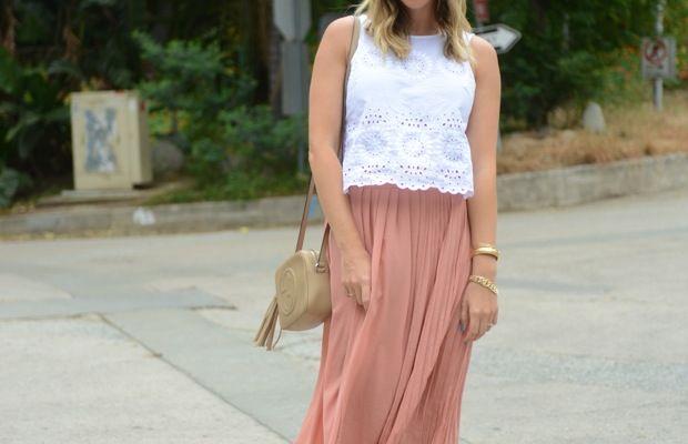 BB Dakota Top, H&M Skirt, Vintage Scarf and Bracelets, Gucci Bag c/o, J.Crew Sandals (similarhere), Essie 'Avenue Maintain' Nail Polish