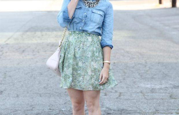 J.Crew Top and Skirt, Marc by Marc Jacobs Sunglasses, Cupcakes and Cashmere for COACH Bag, Madewell Necklace, Prada Heels