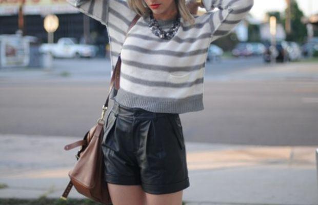 360 Sweater, Martin + Osa Necklace, Club Monaco Shorts, Revlon 'Orange Flip' Lipstick,Mulberry Bag,Pencey Booties