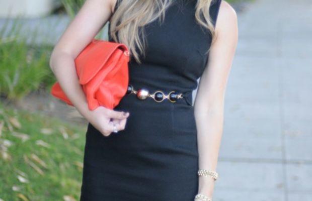 Milly Dress, Vintage + Dannijo Bracelet, Zara Clutch, Louboutin Heels, Estee Lauder 'Metallic Sage' Nail Polish