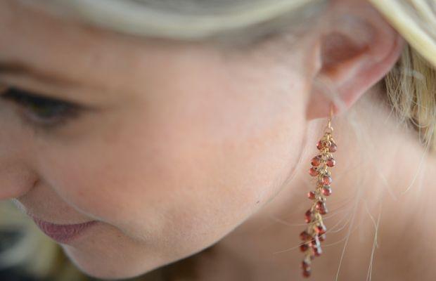 {Beautiful garnet earrings my mom made me for Christmas}
