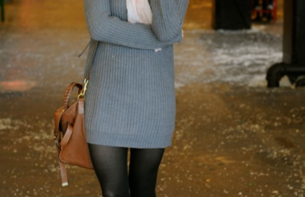 Forever 21 Hat, Club Monaco Scarf Zara Sweater Dress, Urban Outfitters Tights, Elizabeth and James Booties, Mulberry Bag