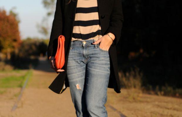 J.CrewCoat,Blouse, Necklace, andPumps, Gap 1969 jeans, Zara bag