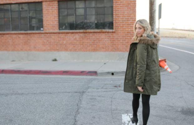 MadewellParkaand Lace Dress, Hue Tights, Proenza Schouler Boots