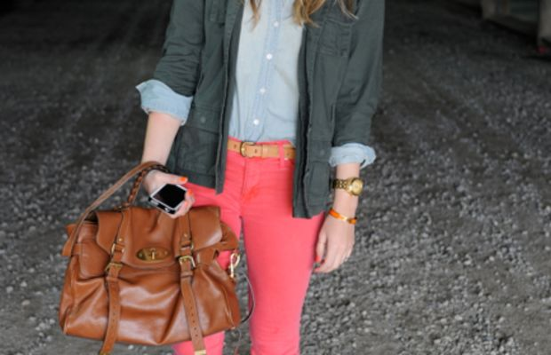 Urban Outfitters Glasses, Ben Sherman Jacket, J.Crew Chambray Shirt, Blouse, and Belt, Hudson Pants, Nixon Watch, Hermes Bracelet, Mulberry Bag, Madewell Oxfords