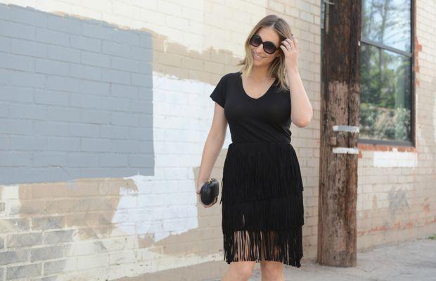 Elizabeth and James Sunglasses, LNA Shirt, One by Lamarque Skirt, Alexandra DeClaris Clutch, Zara Sandals