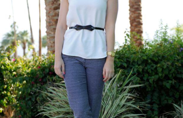 Vintage Scarf, Karen Walker Sunglasses, Zara Blouse,Nixon Watch, Maje Belt,J.Crew Pants, Chanel Flats,Essie 'Cute as a Button' Nail Polish