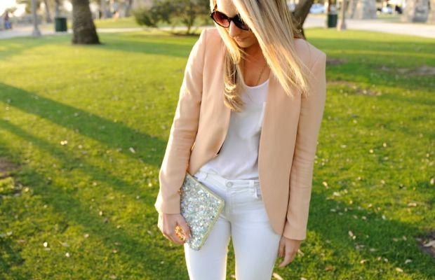Free People Sunglasses, Zara Blazer, Club Monaco Top,J.Brand Jeans, Pencey Booties, Zara Clutch