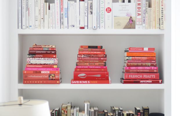 {One of my favorite pastimes: reorganizing the bookshelves}