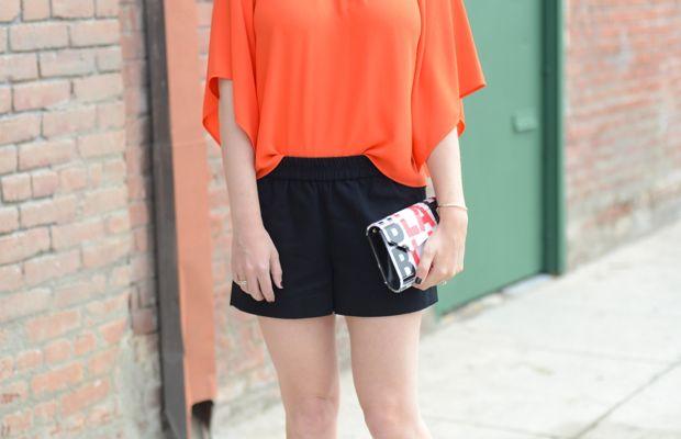{Celine Sunglasses, Zara Top, Vintage Necklace, J.Crew Shorts(on sale), Jimmy Choo Clutch c/o, Elyse Walker Pumps}