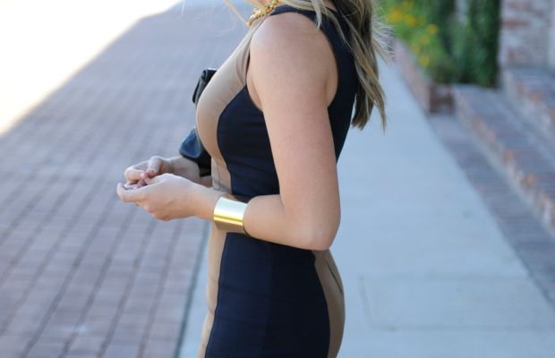 Club Monaco Dress, Vintage Necklace and Clutch, Topshop Cuffs, Louboutin Heels