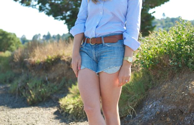 Ray-Ban Aviators, Make-Up Forever Lipstick #40,Gap Oxford,Nixon Watch, Husband's jeans-turned-cut-offs,Madewell Belt, VPL Boots, Vintage Chanel Bag