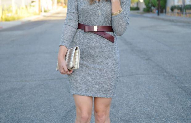 Club Monaco Hat,Velvet Sweater Dress, Maje Belt (similarhere), Prada Heels, Vintage Clutch,Helen Ficalora Necklace
