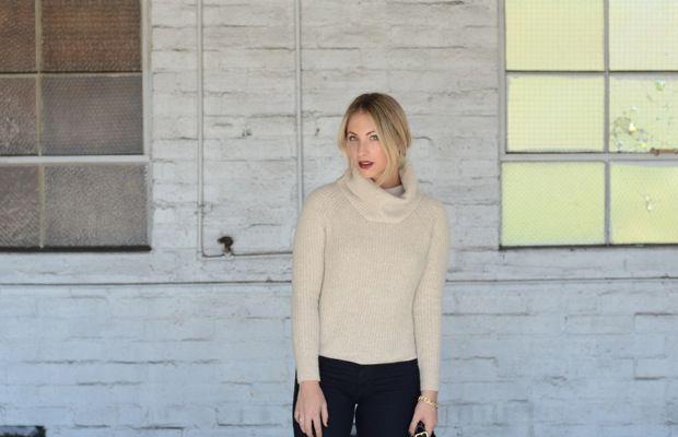 "Club Monaco Sweater,Hudson Jeans, Deborah Lippmann ""Bite Me"" Lipstick, Louboutin Heels, Zara Bag"