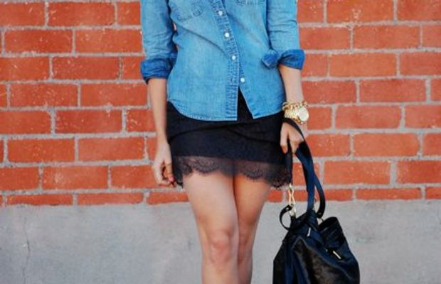 J.Crew Selvedge Chambray Shirt, Anthropologie Headband, Vintage Glasses, Michael Kors Watch, Topshop Lace Skirt, Alaia Platforms (seen here, here and here) Gifted Coach Leather Large Drawstring Bag