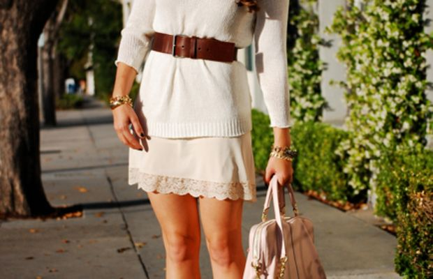 Cupcakes and Cashmere for Coach Bag,H&M Sweater, Vintage Slip, Madewell Belt, Vintage Bracelets, Seychelles Booties