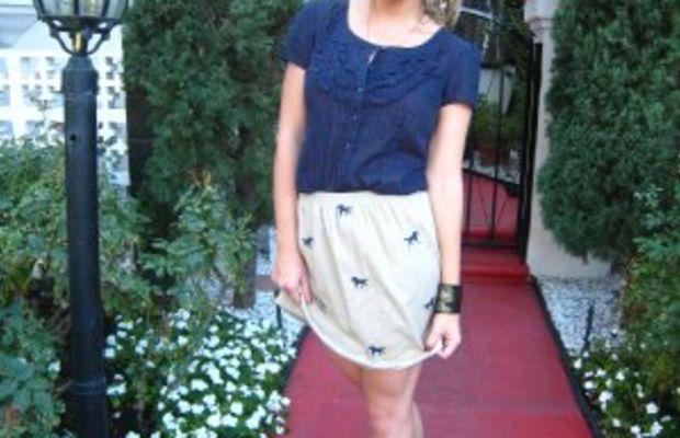 Urban Outfitters Blouse, Vintage skirt, Calf hair bracelet, MichaelKorspumps,OPIRed Nail Polish