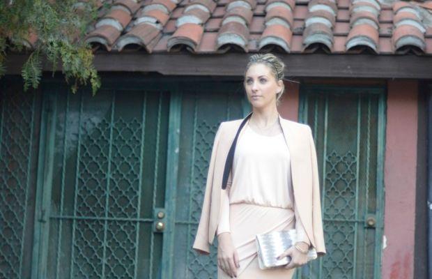 Mason by Michelle Mason Dress (on sale), Zara Blazer, J.Crew Headband, Vintage Clutch, Zara Heels
