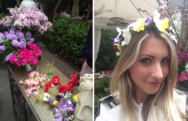 {Cute idea from a luncheon this week: flower crown bar}