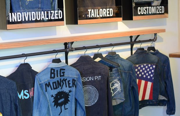 {Custom Levi's band jackets at their Los Angeles showroom}