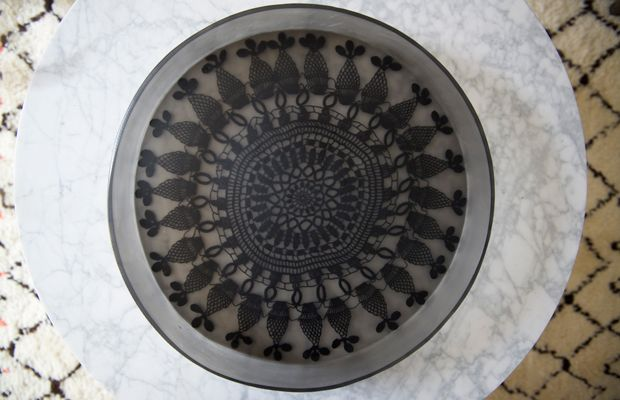 {A crochet-detailed tray from Mexico}