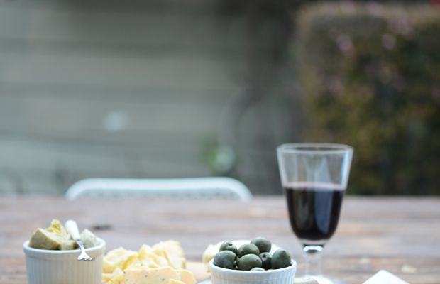 {A night to myself: a backyard cheese plate, wine and the new Cook's Illustrated}