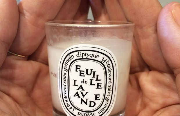 {The cutest, teeny tiny Diptyque candle}