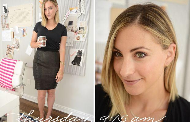{Everlane Shirt, Cupcakes and Cashmere X Club Monaco Skirt, Manolo Blahnik Heels}