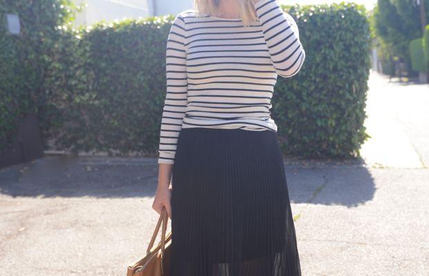 {Super Sunglasses, Club Monaco Sweater (similar on sale here) & Skirt, Nars 'Heat Wave' Lipstick, Prada Bag, Topshop Sandals}