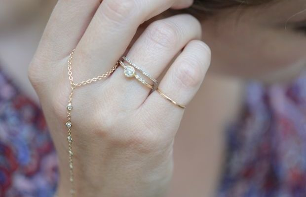 {A beautiful gift from Jacquie Aiche: one of her dainty finger bracelets}