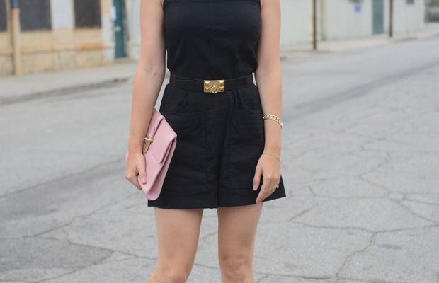 {Celine Sunglasses, Theory Romper, Hermes Belt, Zara Sandals, Balenciaga Clutch, Nars 'Torres Del Paine' Lip Pencil}