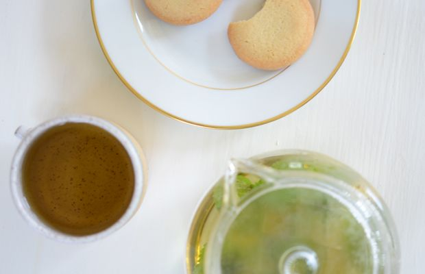 {Current favorite afternoon snack: butter cookies and fresh mint tea}