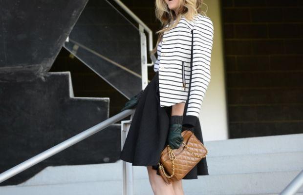 Rachel Zoe Skirt,Prada Sunglasses, Pinko Jacket, H&M Top,Manolo Blahnik Pumps, Club Monaco Gloves, Vintage Chanel Bag