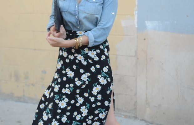 {Celine Sunglasses, J.Crew Chambray, Forever 21 Skirt (last seen here), Topshop Clutch, Cupcakes and Cashmere x Club Monaco Heels}