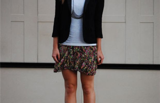 Topshop Blazer, AA Tank, Forever 21 Dress and Glasses, LeviticusHarness, YSL Heels
