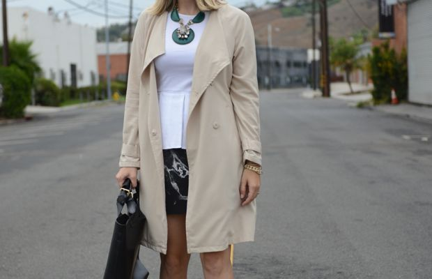{Celine Sunglasses, H&M Trench, Theory Top, Anthropologie Necklace, Robert Rodriguez Skirt, Prada Heels, Zara Bag}