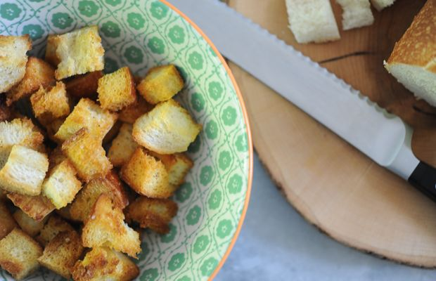 {Homemade croutons make every salad better}