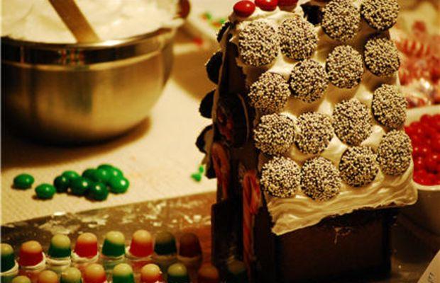 {Gingerbread House in progress. Thanks, Rach!}