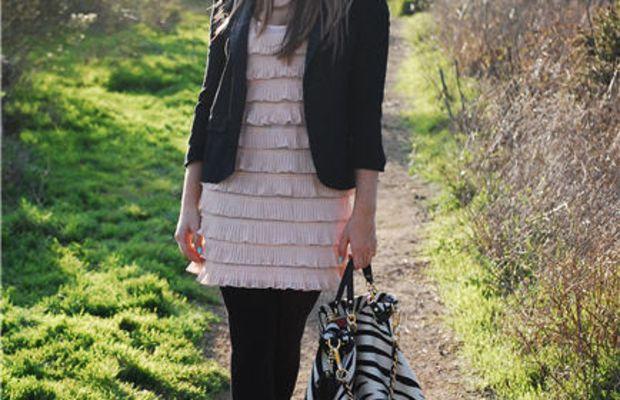 Topshop Blazer, H&M Dress and Tights, Cynthia Vincent Wedges, Coach Bag