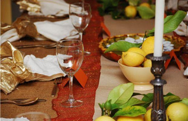 {Christmas Eve rustic table setting}