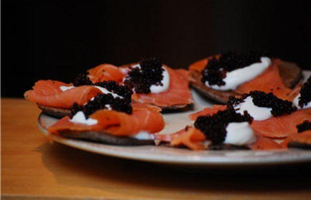 {Buckwheat blini, smoked salmon, Crème fraiche and caviar}
