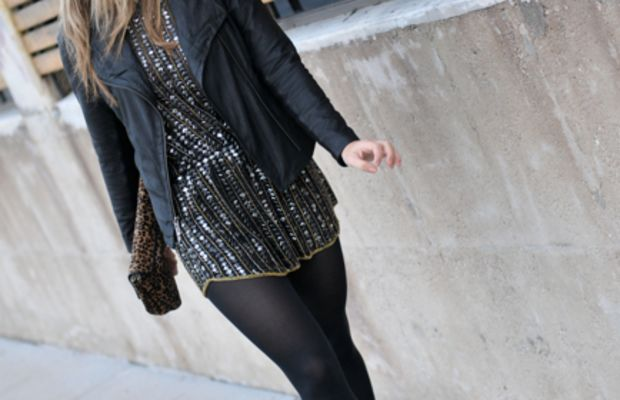 Vince Leather Jacket, Parker Sequin Tunic(c/o), Reiss Clutch, Hue Tights, Alaia Platforms